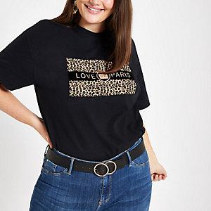 Plus black 'Love Paris' leopard print T-shirt
