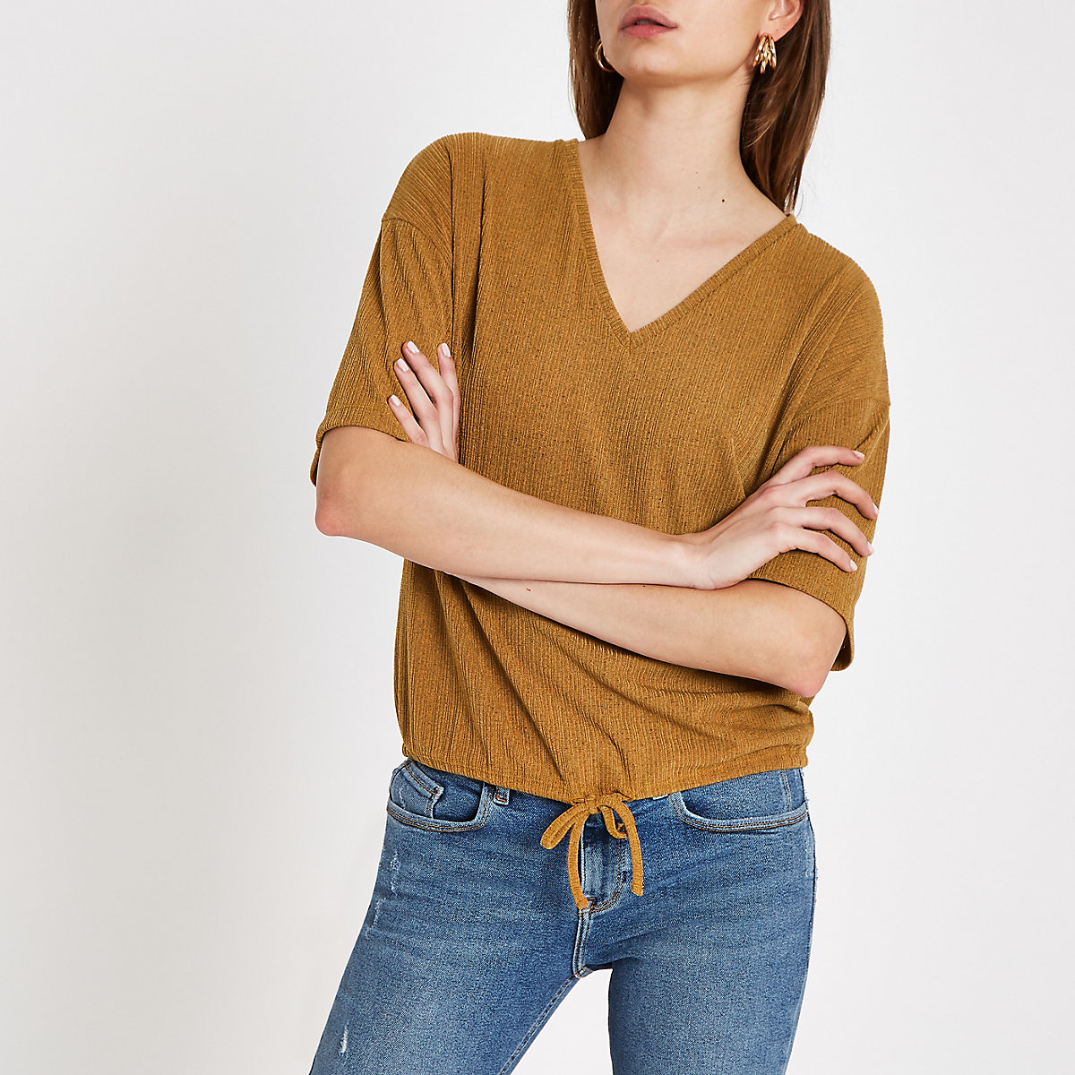 Yellow elastic tie waist loose fit top