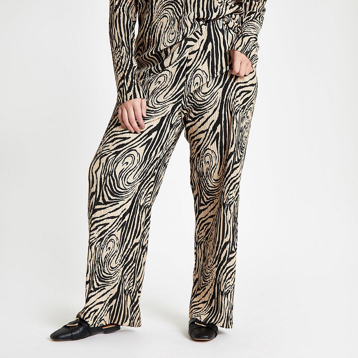 Plus beige plisse zebra wide leg pants