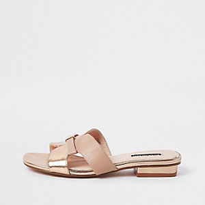 Rose gold faux leather flat mule sandals