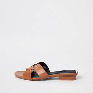 Brown faux leather flat mule sandal