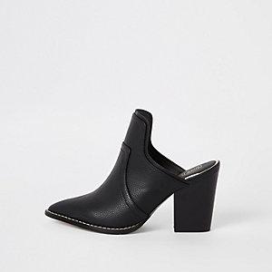 Black pointed toe western mules