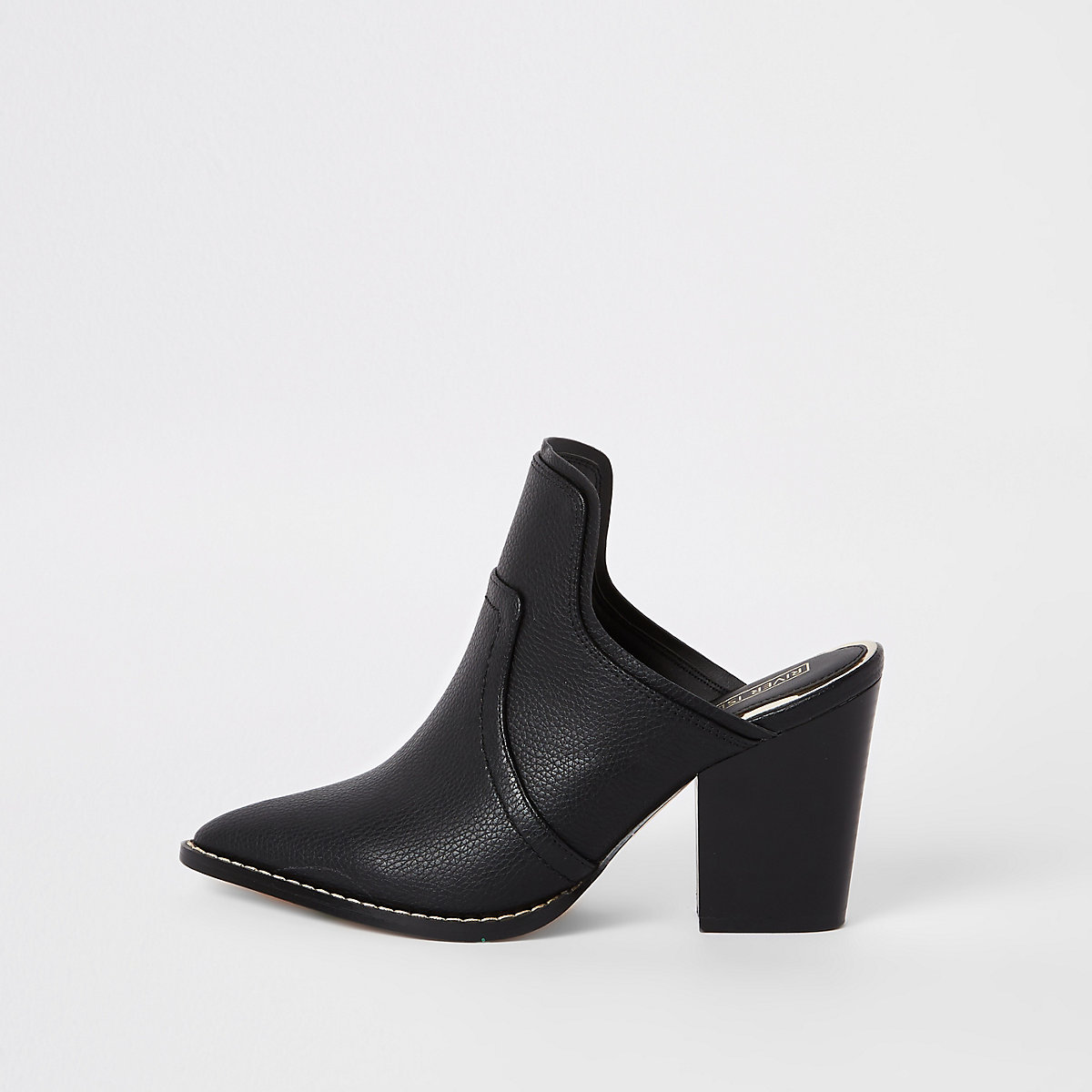 Black pointed toe western mules