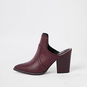 Dark red western pointed toe mule