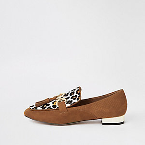 Brown leather leopard print loafers