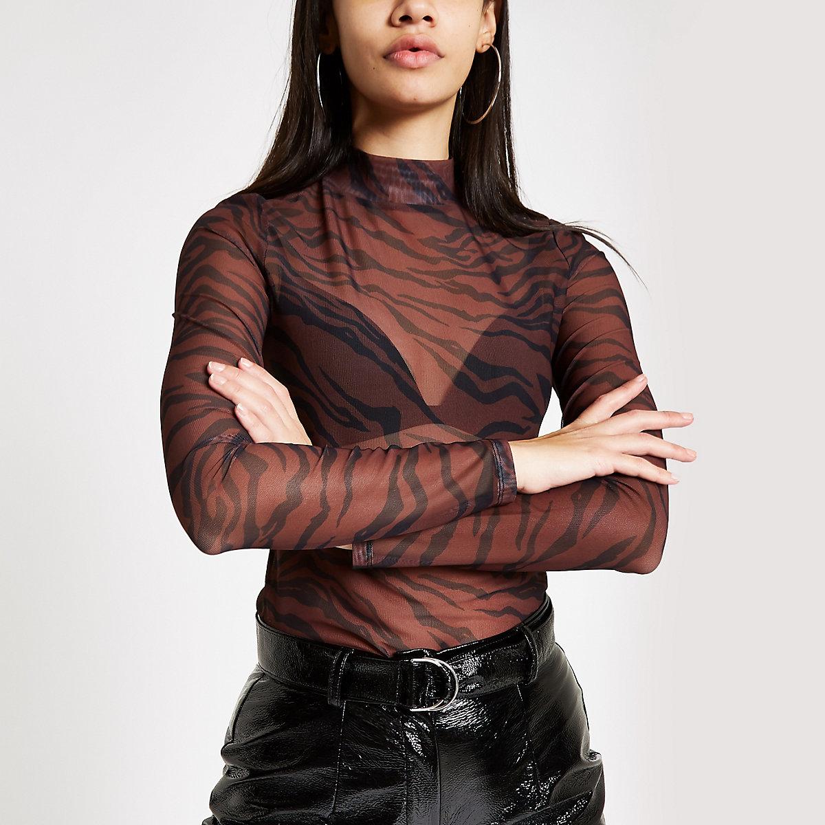 Brown mesh tiger print high neck top
