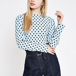 Light blue polka dot print high neck top