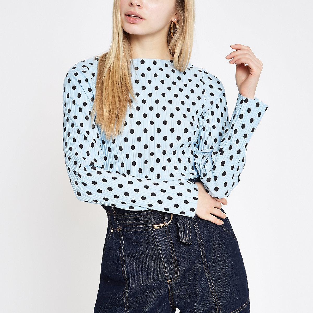 Light blue polka dot print high neck top