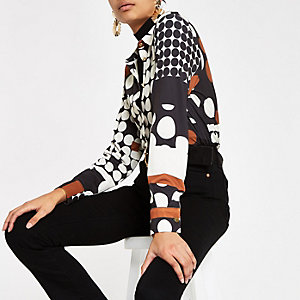 Cream spot print long sleeve shirt