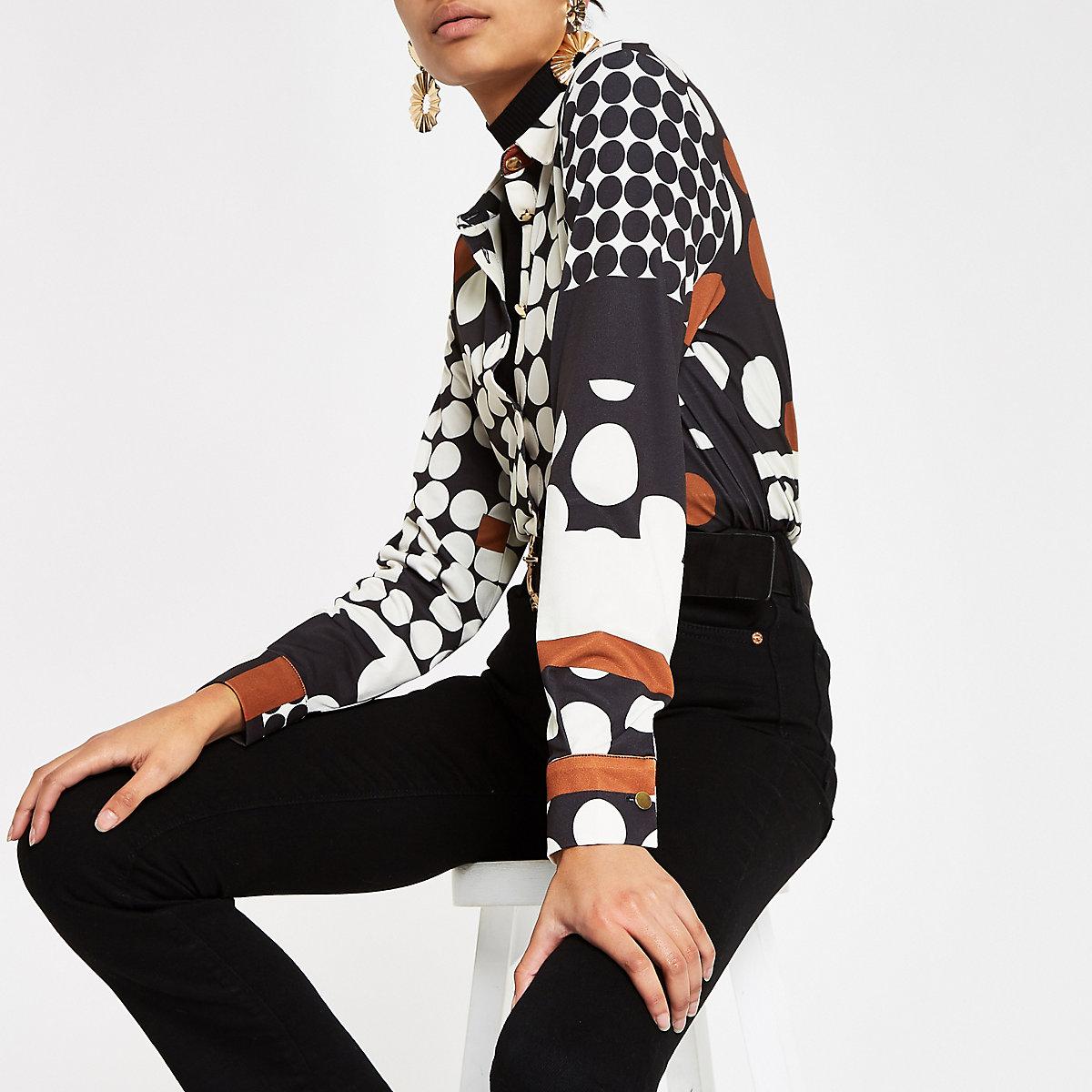 Cream spot print long sleeve shirt