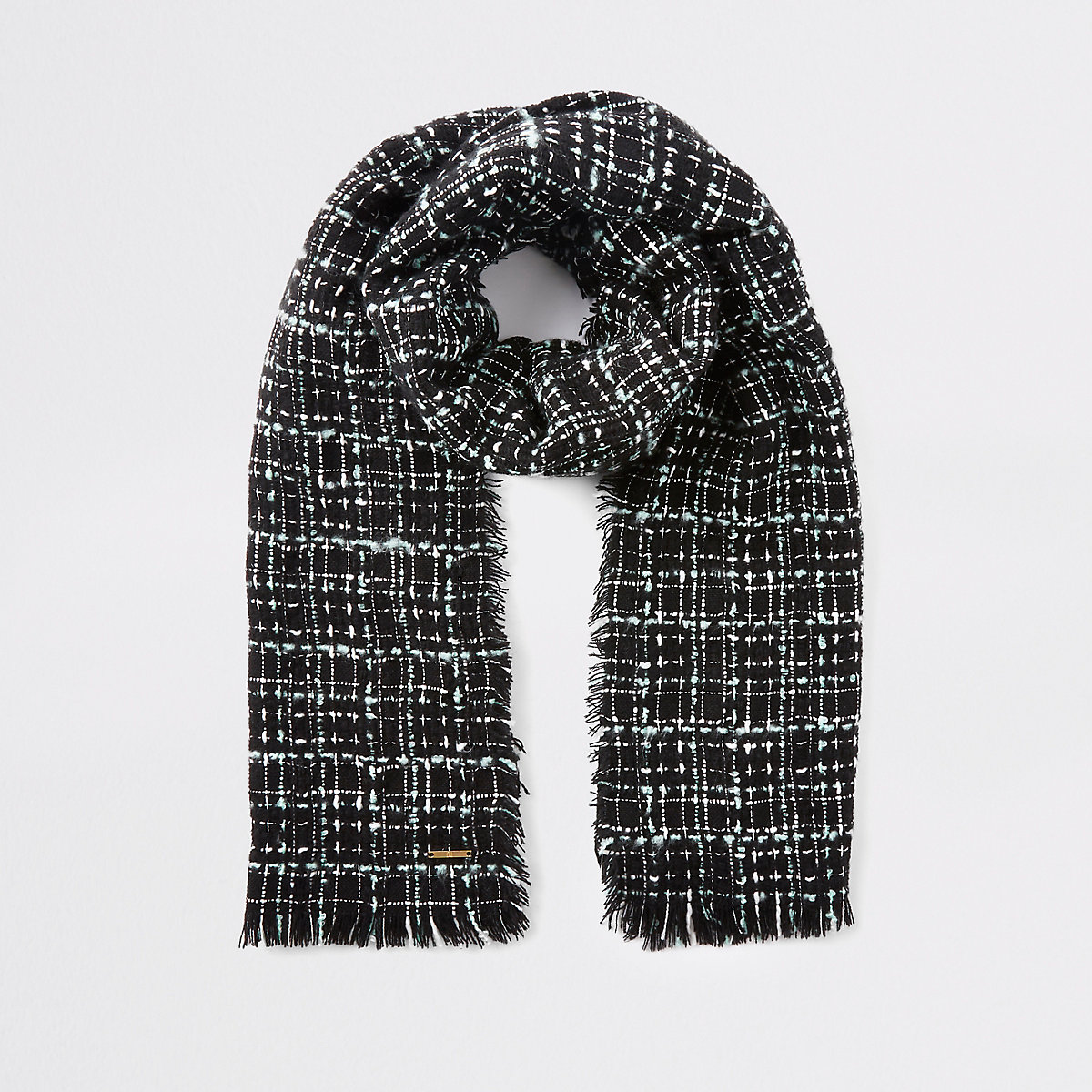 Black boucle check scarf