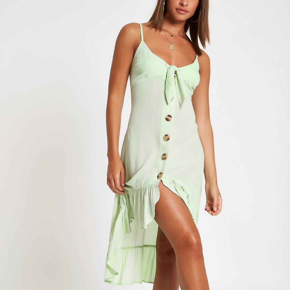 Light green bow front beach dress