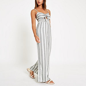 Cream stripe knot front beach jumpsuit