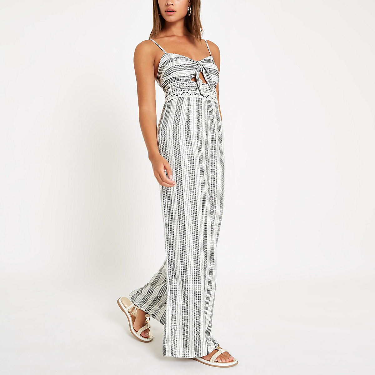 Cream stripe knot front beach jumpsuit