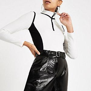 Cream jersey color block half zip top
