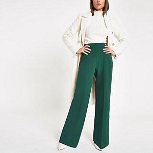 Pantalon large vert foncé à boutons