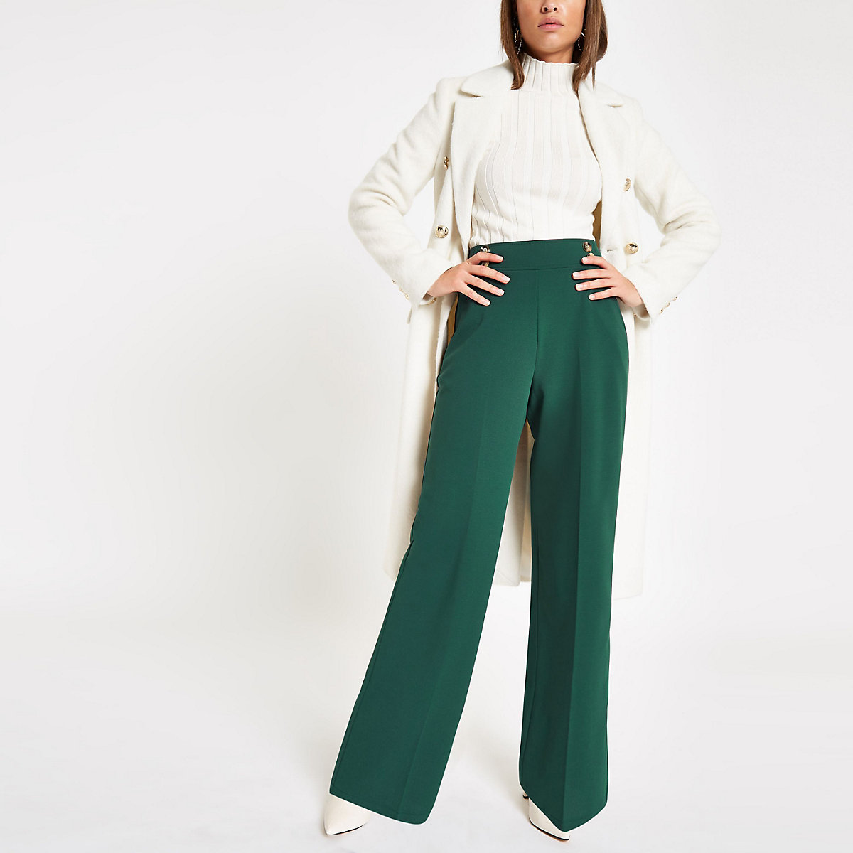 Dark green wide leg double button trousers