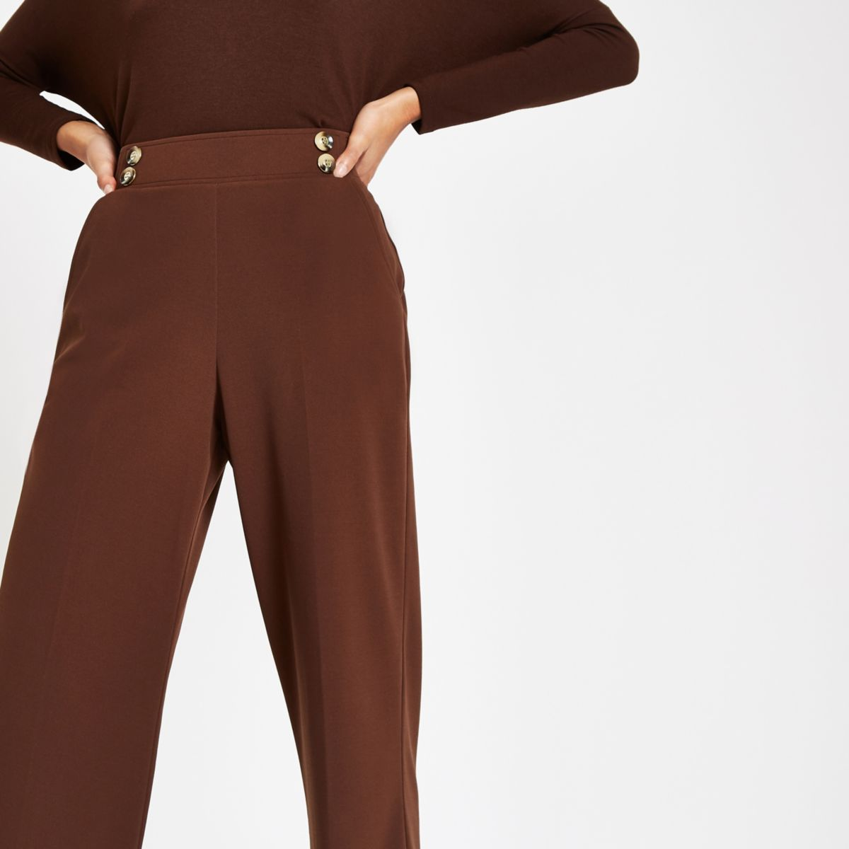Brown button detail wide leg trousers