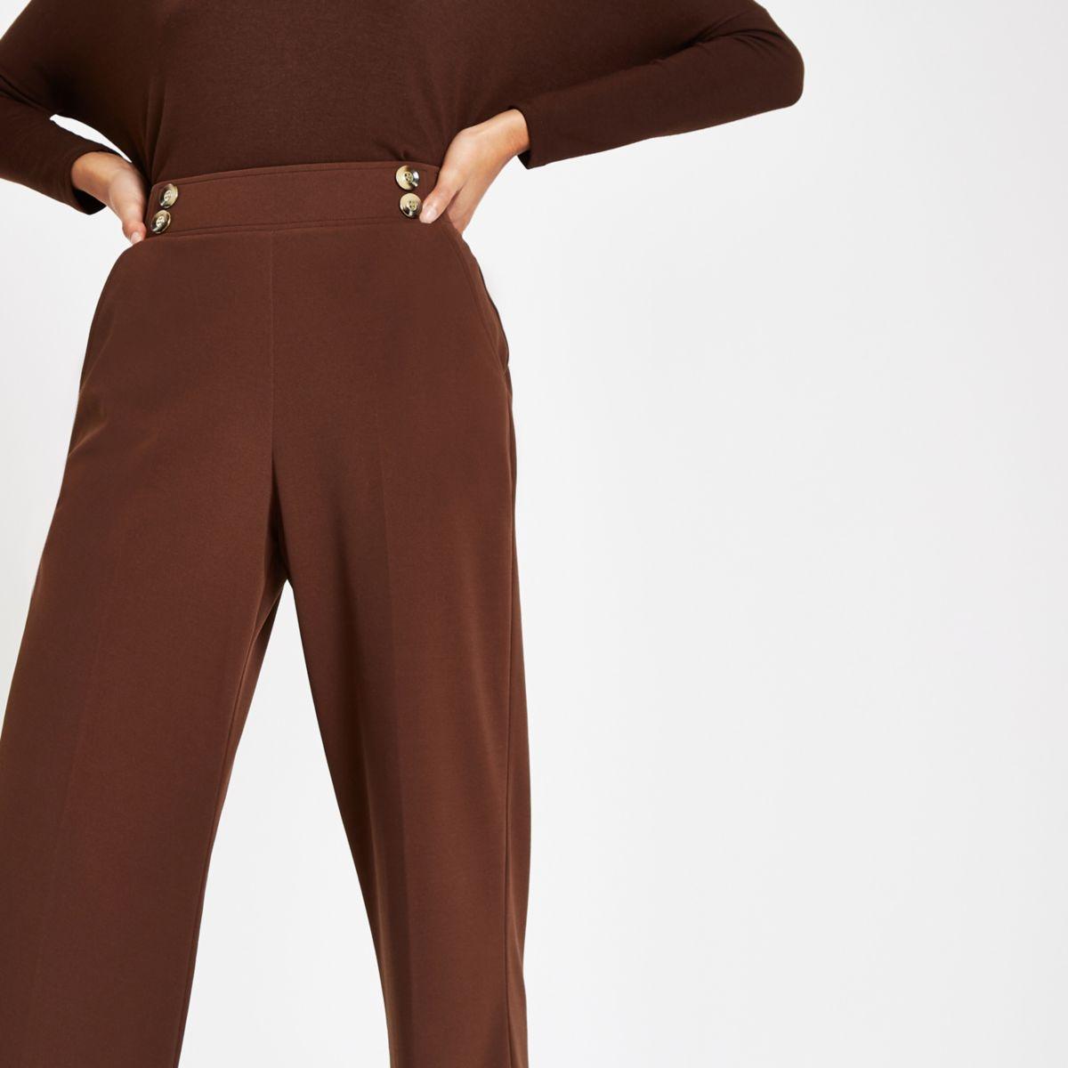 Brown button detail wide leg pants