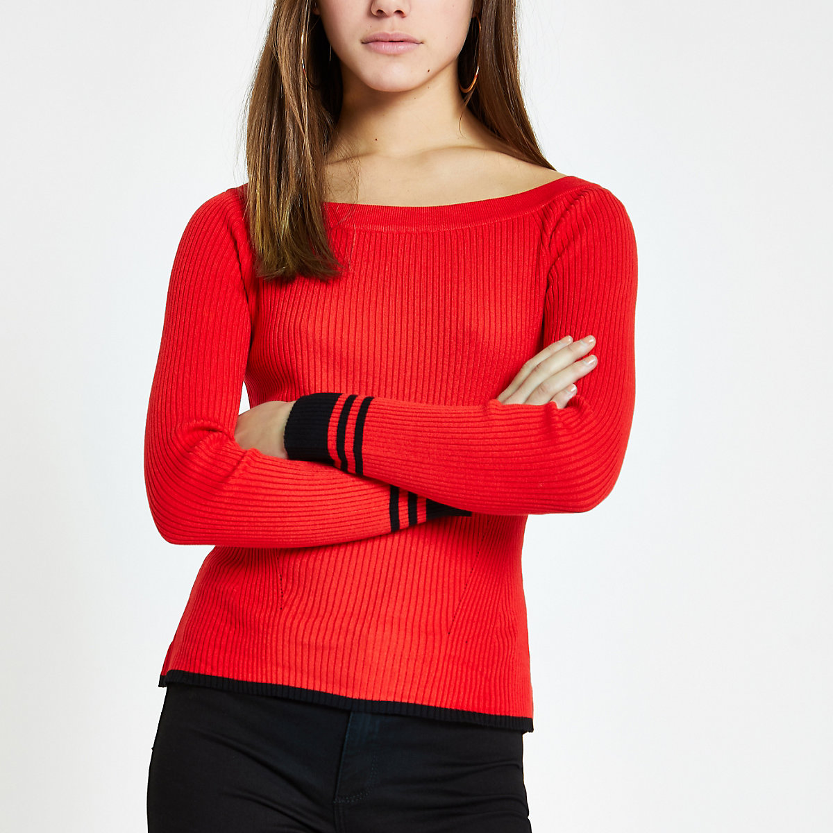 Petite red tipped boat neck top
