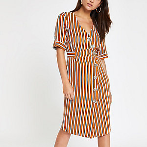 Petite orange stripe button front midi dress