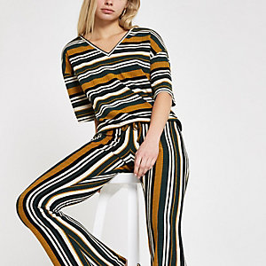 Green stripe tie waist top