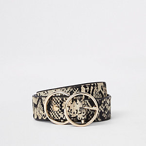 White snake print double ring belt