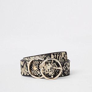 Witte riem met slangenprint en twee ringen