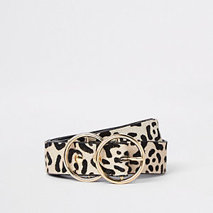 White leopard print double ring buckle belt