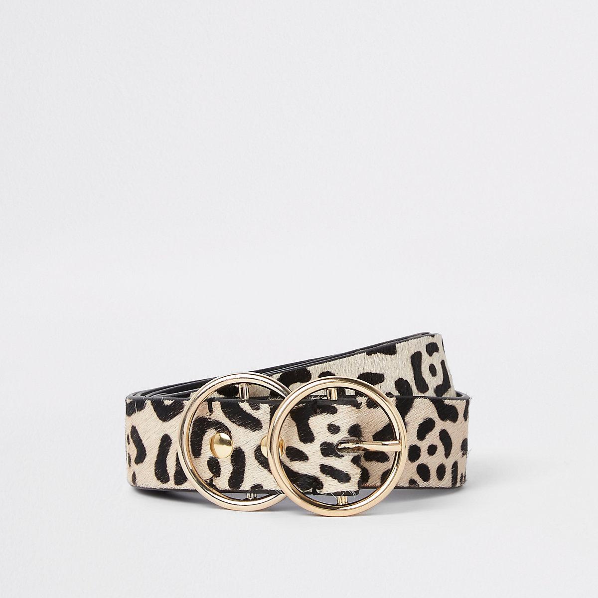 White leopard print double ring buckle belt