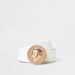 Witte jeansriem met roségouden jaguar-gesp