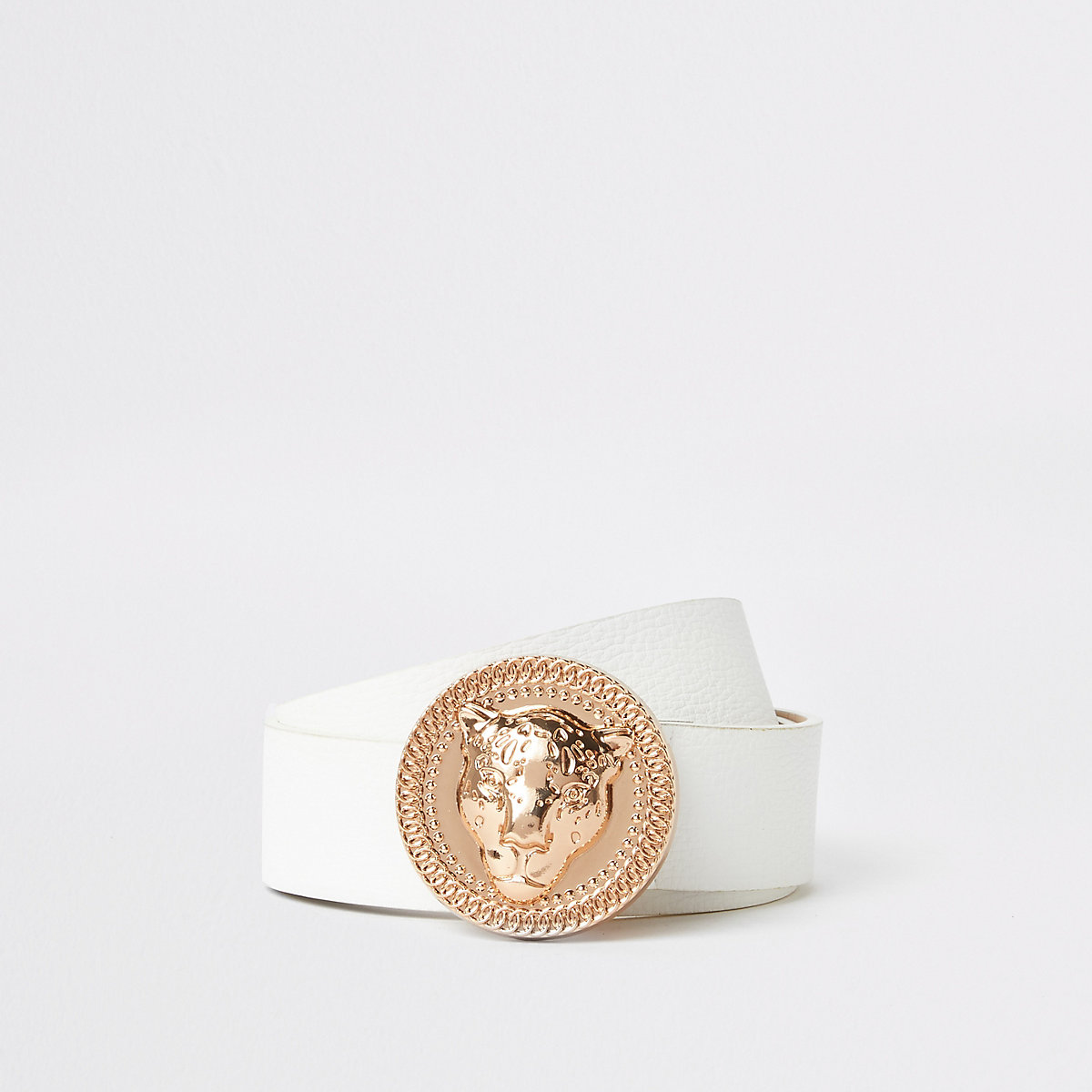 White rose gold jaguar buckle jeans belt