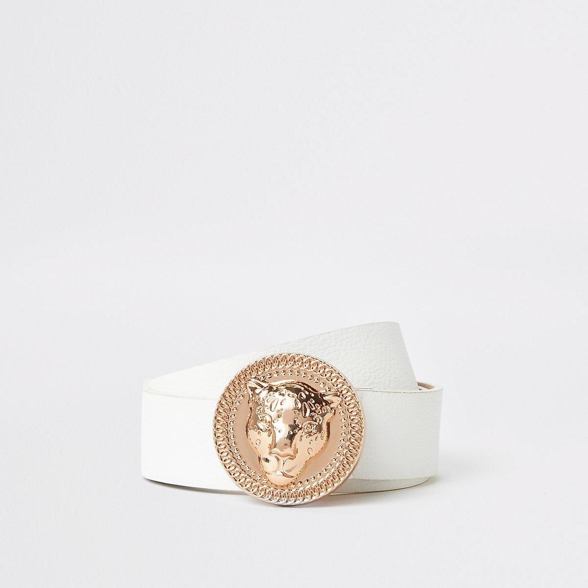 Ceinture blanche à boucle jaguar or rose - Ceintures - Accessoires ... 6ecda7ed807