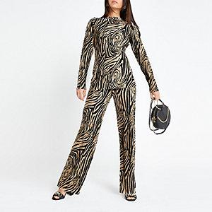 Petite beige zebra print plisse trousers