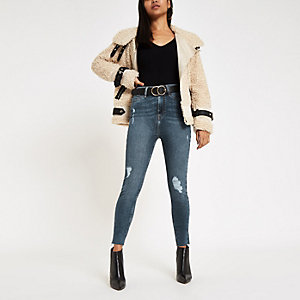 Petite – Harper – Jean skinny bleu mi-délavé taille haute
