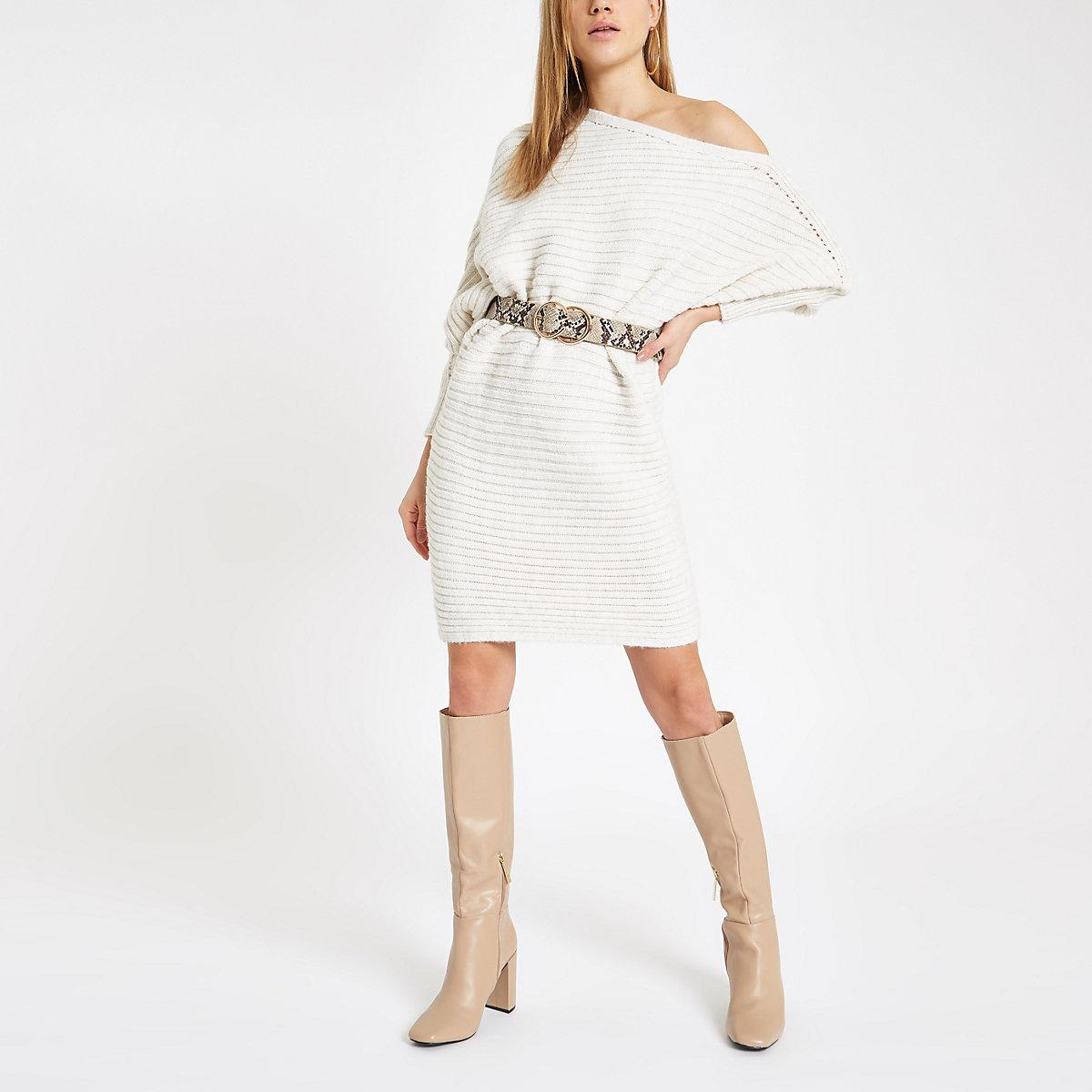 4c936ef1e2 Cream knit asymmetric jumper dress - Swing Dresses - Dresses - women
