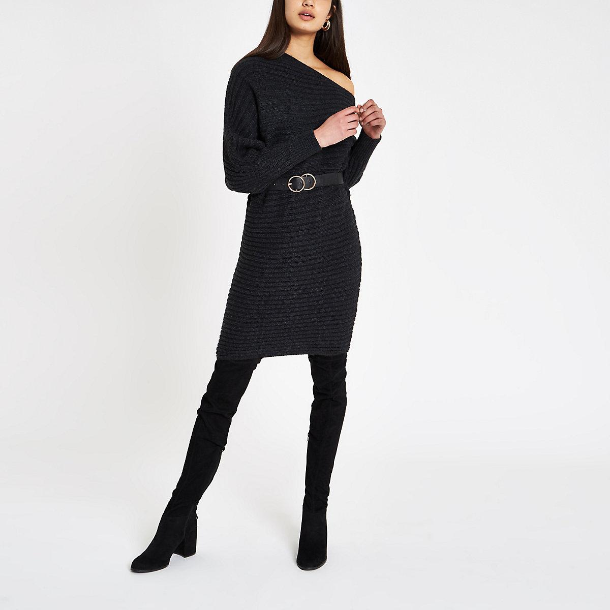 Dark grey asymmetric neck knit sweater dress