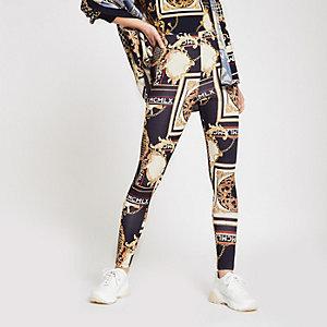 Blaue Leggings mit Print
