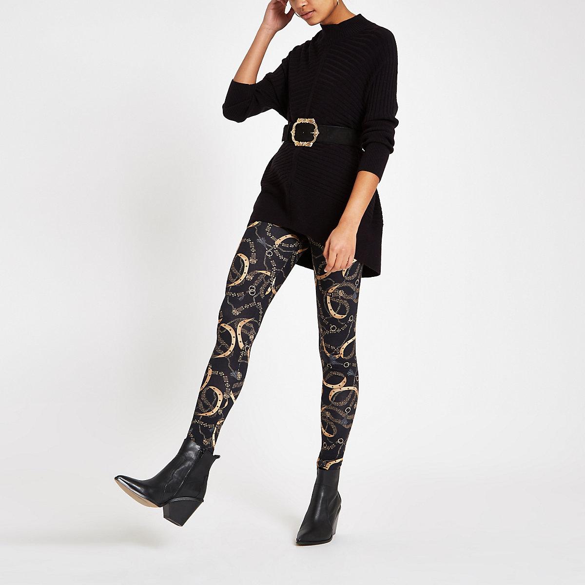 Black chain print leggings