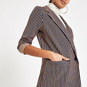 Navy stripe double breasted long line blazer