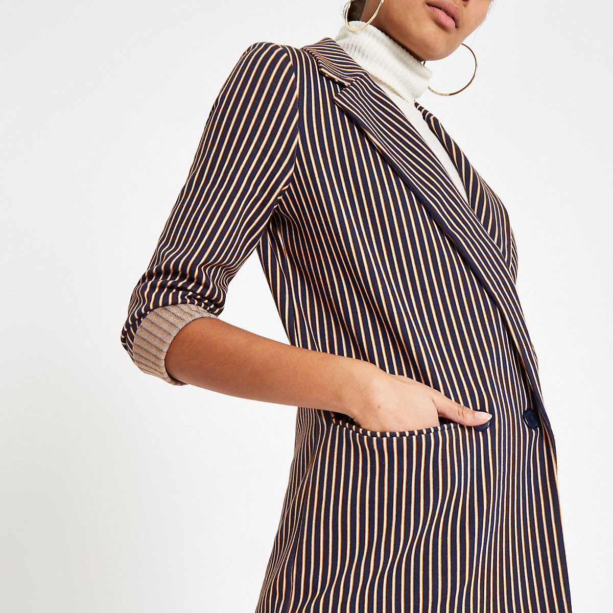 Navy stripe double breasted long line blazer