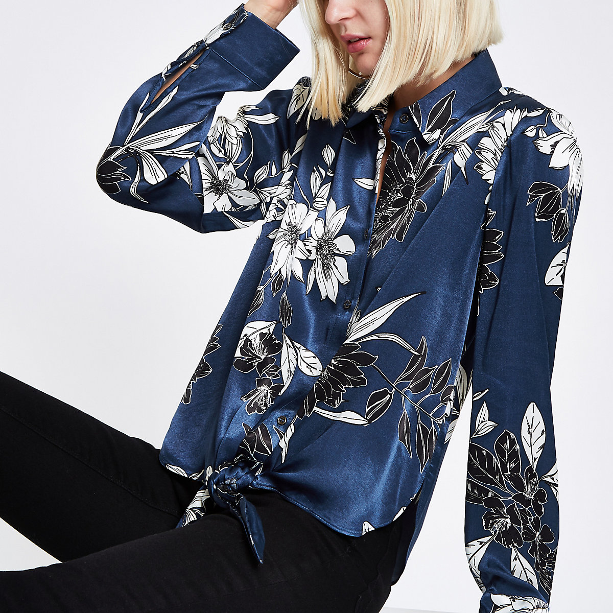 Navy floral tie front shirt