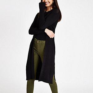 Black ribbed knit cardigan