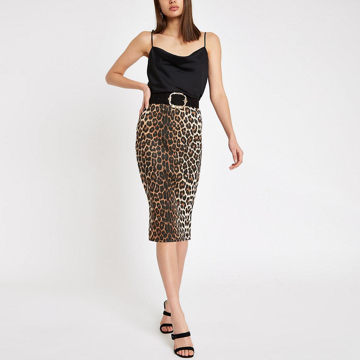 Brown leopard print pencil skirt - Midi Skirts - Skirts - women ff1c1d568