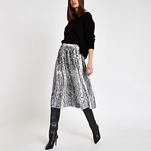 Grey snake print pleated midi skirt