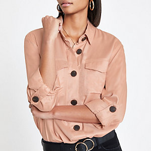 Pink button front shacket