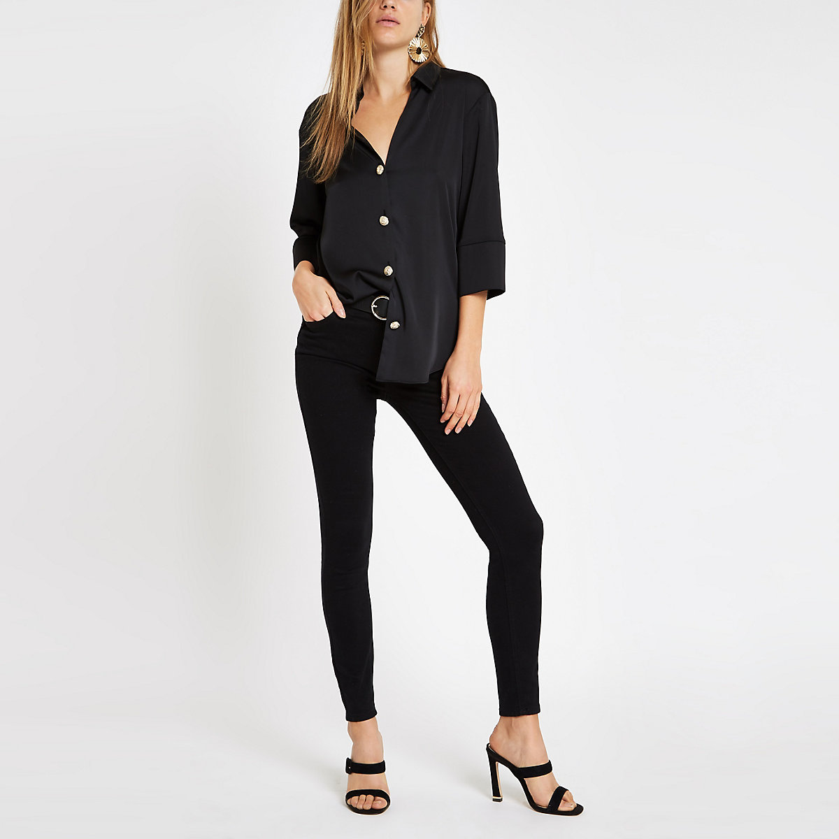 Black button front bar back satin blouse