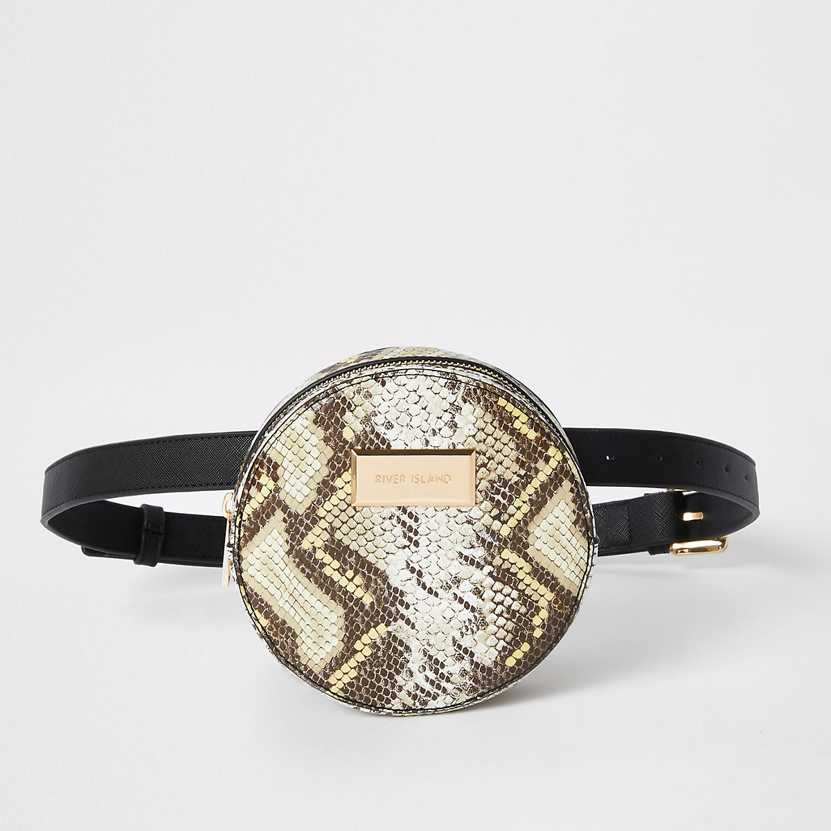 Black snake circle belt bag