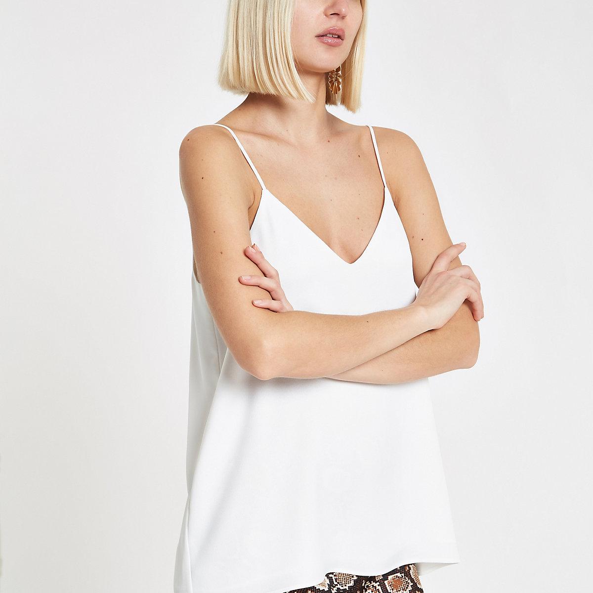 White cross back cami top
