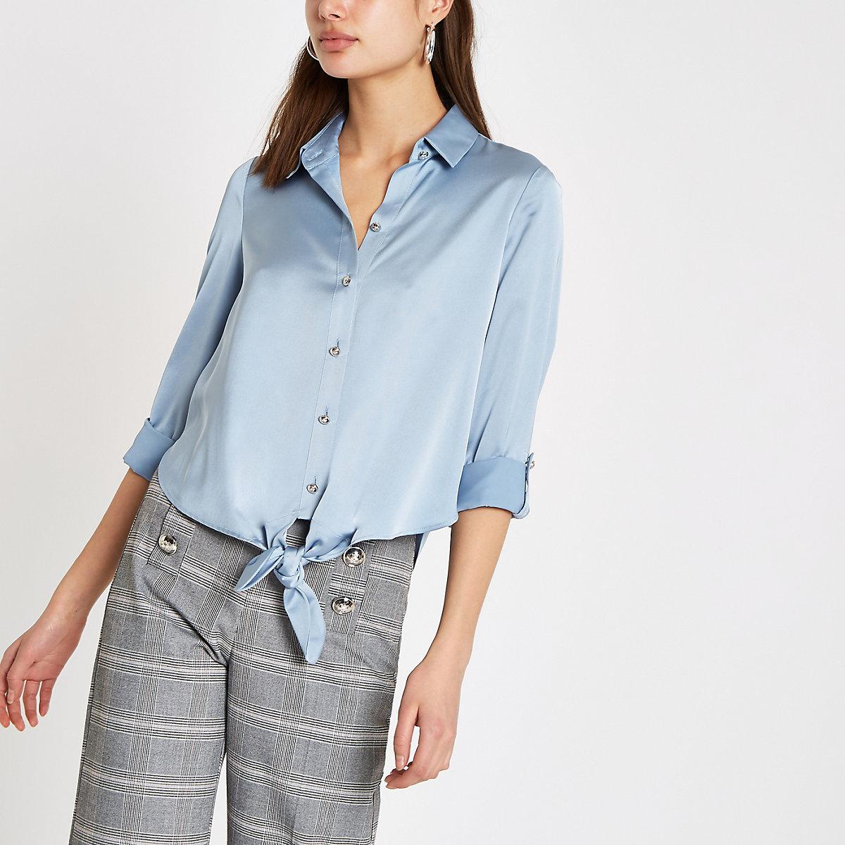 Blauw overhemd met strik voor